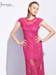 TRUGIRL楚阁女装新款桃粉色包臀裙
