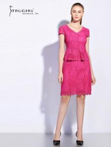 TRUGIRL楚阁女装新款粉色V领短袖T恤