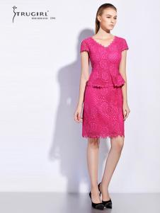 TRUGIRL楚阁女装新款粉色V领T恤