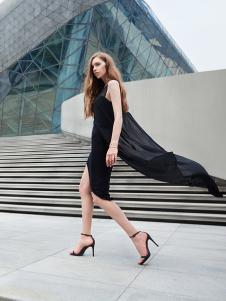 37度love女装新款黑色无袖连衣裙