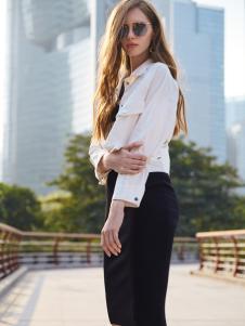 37度love女装新款休闲白色衬衫