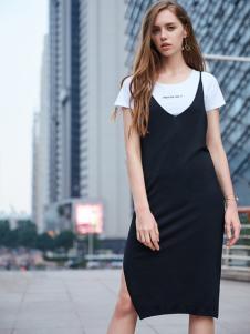 37度love女装新款黑色背带裙