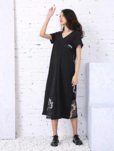 卡风女装2017新品黑色长裙
