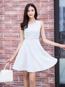 音非2017夏新款白色连衣裙