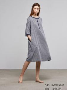 朵朵可可新款圆领灰色连衣裙