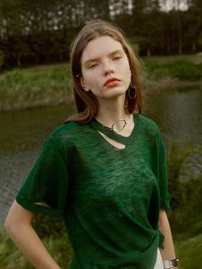 艺素2017春夏新品绿色针织衫