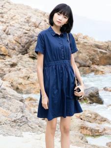 UKHARA 布卡拉新款蓝色收腰连衣裙