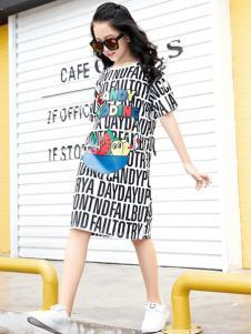 糖果布丁2017春夏新品字母T恤裙