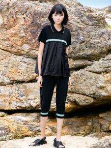 UKHARA 布卡拉2017黑色衬衫领T恤