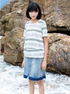 布卡拉女装UKHARA 布卡拉新款条纹T恤