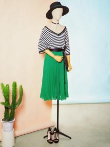速品2017新款夏装绿色半身裙
