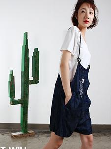 拾卡SAYKA2017蓝色背带裤