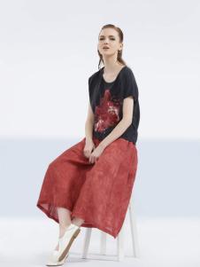 约布女装2017夏款黑色T恤