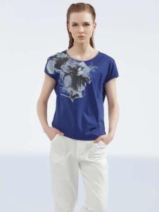 约布女装2017夏款宝蓝色T恤