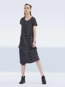 约布女装2017夏款条纹连衣裙