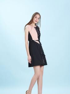 卡索夏新款无袖拼接连衣裙