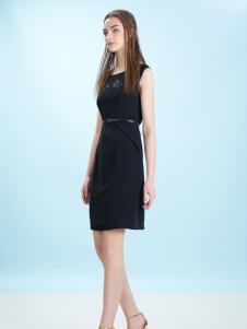 卡索17夏新款优雅小黑裙