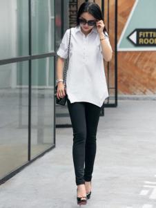 迪丝爱尔夏新款白色知性衬衫
