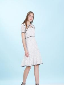 卡索17夏新款白色甜美连衣裙