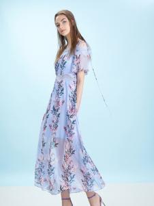 卡索17夏新款唯美印花长裙