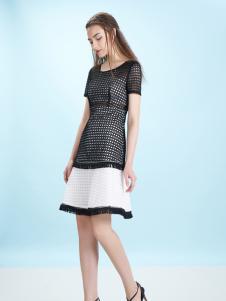 卡索17夏新款时尚拼接连衣裙