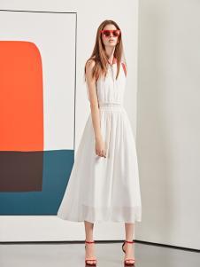 YDG2017新款修身白色无袖连衣裙