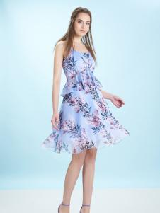 卡索17夏新款甜美印花吊带裙