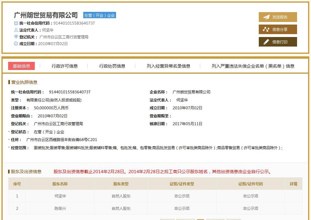 广州朗世贸易有限公司企业档案
