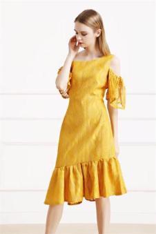 娅美悉2017新品亮黄色长裙