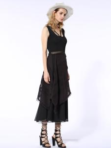 迪斯廷凯2017新款夏季黑色长裙