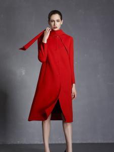 玛歌玛俐红色时尚呢大衣