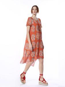迪斯廷凯2017新款夏季短袖连衣裙