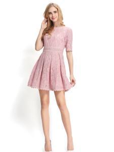 依路佑妮17夏款粉色修身连衣裙