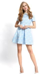 依路佑妮17夏浅蓝色甜美连衣裙