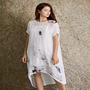 唯简尚女装新品 棉麻连衣裙穿出你的文艺范儿