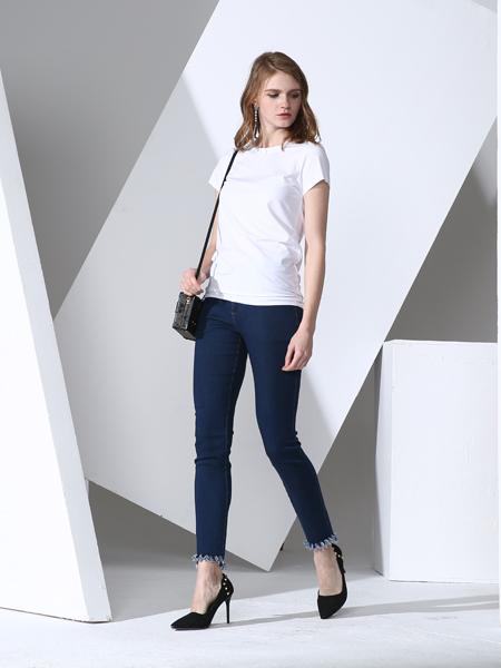 凯伦诗2017春夏新款白色T恤