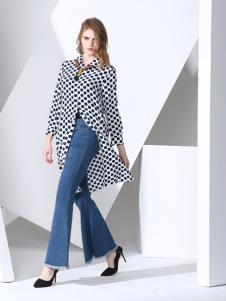 凯伦诗2017春夏新款牛仔长裤