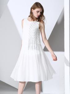 凯伦诗2017春夏新款无袖连衣裙