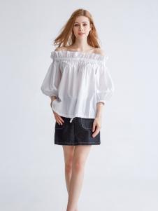 都市衣柜新款一字肩纯白T恤