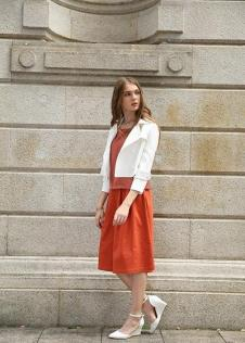 独傲女装17年橙色裙子