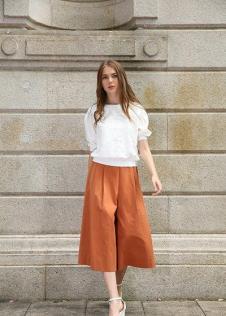 独傲女装17年橙色大脚裤