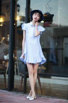 唯一2017夏季新品衬衫短裙 款号287638