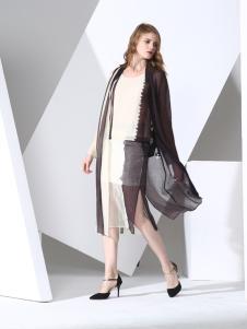 凯伦诗2017春夏新款黑色雪纺外套