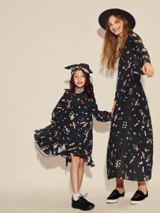 西蔻17新款亲子装印花裙系列