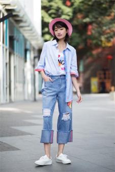 唯一2017夏季新品印花牛仔裤