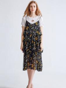 都市衣柜2017新款碎花吊带裙