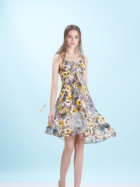 卡索Castle17夏唯美印花吊带裙