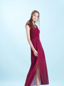 卡索Castle17新款酒红色雪纺裙