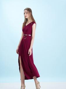 卡索17夏新款酒红色修身长裙