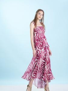 卡索17新款唯美印花吊带裙